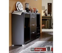 Arte M Highboard Gallery Plus Schwarz/Schwarzglas 150 x 116 cm