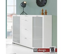 Arte M Highboard Gallery Weiss/Milchglas alternativ Anthrazit/Milchglas 150 x 100 cm