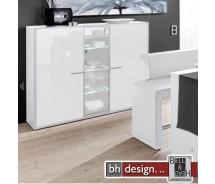 Arte M Highboard Game Plus Weiss Hochglanz/Parasolglas 161 cm x 134 cm x 42 cm
