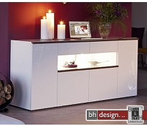 Arte M Kommode Linea W Weiss/ HG/ Esche dunkel 210 cm x 88,5 cm
