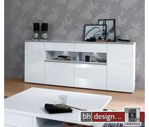 Arte M Kommode Linea W Weiss/ HG/ Silber 210 cm x 88,5 cm