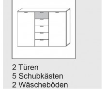 Express Möbel Kommode Navajo, 5 Schubkästen, 2 Türen, B 140 cm x H 100 cm