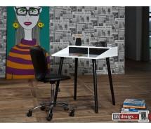 Pincon Schreibtisch weiss/schwarz matt lackiert 80 x 60 cm