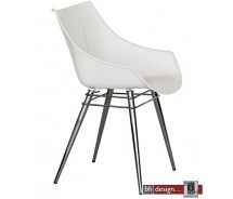 Premiere Designstuhl aus hochwertigem Kunststoff mit Chromgestell in verschiedenen Farben