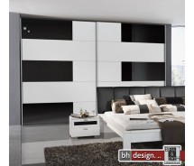 Arte M Schiebetrenschrank Shuffle Weiss/Schwarzglas 