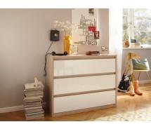 CS Schmal Kommode Soft Smart, 106 x 84 cm, 3  Schubkästen grifflos in  verschiedenen Farben