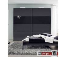 Arte M Schiebetrenschrank Style Schwarz / Schwarzglas