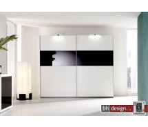 Arte M Schiebetrenschrank Style Weiss / Schwarzglas