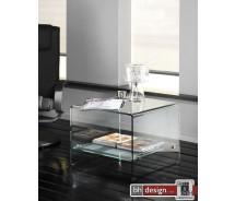 Tessa Retro Beistelltisch aus gebogenem Glas 60 x 60 cm