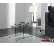 Trapetz 3 - Satz Tisch gebogenes Glas