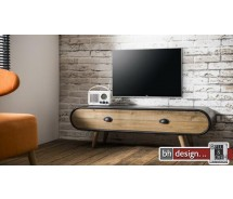 Factory Line TV Tisch Used Look Metall und Esche Schublade 120 x 36,5 cm