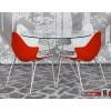 Stella Designstuhl aus hochwertigem Kunststoff und gepolstert mit Chromgestell Weiss/Rot