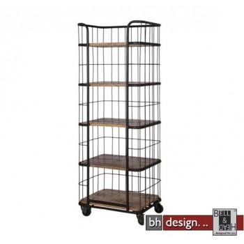 Monta Regal, Industrie Look by Canett Design, Metall schwarz und Mangoholz auf Rollen, B 60 x H 160 cm