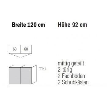 Nolte Möbel Kommode Alegro2 Style, 120 x 92 cm, 2 Türen, 2 Schubkästen in verschiedenen Farben