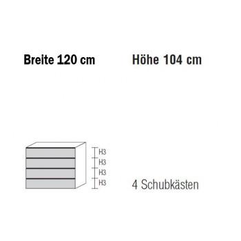 Nolte Möbel Kommode Alegro2 Style, 120 x 104 cm, 4 Schubkästen in verschiedenen Farben