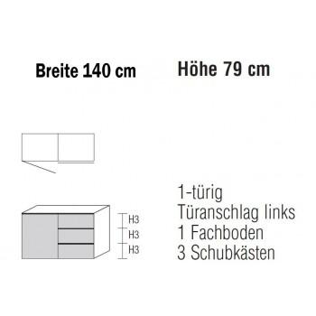 Sidebard Alegro2 Style by Nolte Möbel, 140 x 79 cm, 3 Schubkästen, 1 Tür , verschiedene Farben