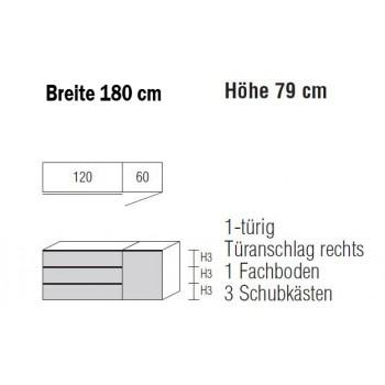 Sidebard Alegro2 Style by Nolte Möbel, 180 x 79 cm, 3 Schubkästen, 1 Tür , verschiedene Farben