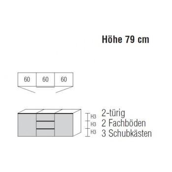 Nolte Möbel Sideboard Alegro2 Style, 180 x 79 cm, 3 Schubkästen, 2 Türen, verschiedene Farben