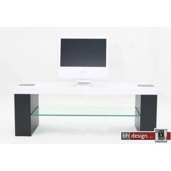 Wister TV Tisch weiß und Beine schwarz 130 x 45 cm