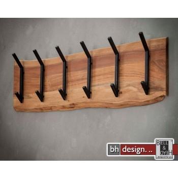Garderobe Baumkante Edge Massivholz Akazie mit 6 Doppelhaken 100 cm x 30 cm