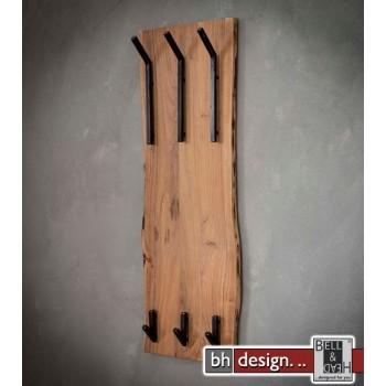 Garderobe Baumkante Edge Massivholz Akazie mit 3 Doppelhaken 35 cm x 100 cm