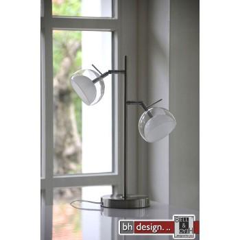 Lounge Line Tischleuchte mit 2 Leuchten aus Klarglas und Milchglas