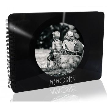 Upcycling Foto-Album aus einer echten (used) Vinyl-Schallplatte, 36 Seiten (18 Blatt) schwarz, Spiralbuch 23,5 x 17 cm