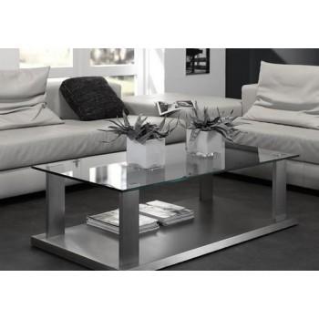 Thamara Design Couchtisch aus Glas und Edelstahlsockel 135 x 65 cm