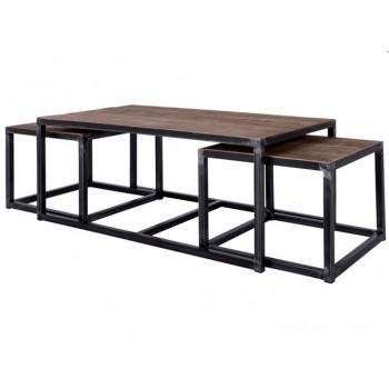 3 Satz Couchtisch Blackwood by Canett Design, Holz verwittert 120 x 65 cm x 47 cm