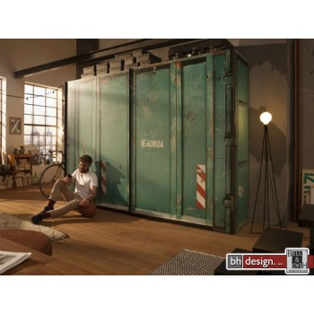 Express Möbel Schwebetürenschrank Cargo im Container Design,150 cm bis 300 cm , Höhe 216 cm