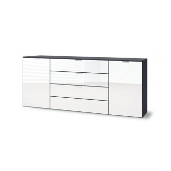 Express Möbel Sideboard Carina , 2 Türen 4 Schubkästen,  Front Weiss hochglanz,  B 180 cm x H 80 cm