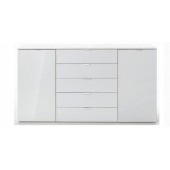 Express Möbel Sideboard Carina , 2 Türen 5 Schubkästen,  Front Weiss hochglanz,  B 180 cm x H 100 cm