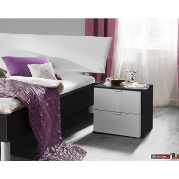 Express Möbel Nachtkonsole Carina , 2 Schubladen, Front hochglanz weiss, B 40 cm x H 42 cm
