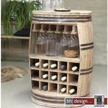 Crazy Weinfaß, Barschrank oder Weinregal by Canett Design 63 x H 90 cm