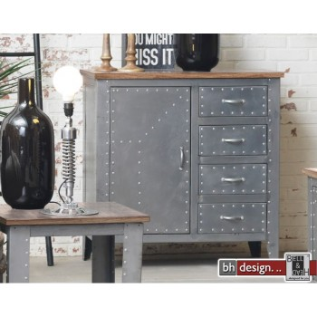 Factory Line Kommode  Detroit by Canett Design, Metall used Look und  Mangoholz 97 x 97 x 42 cm