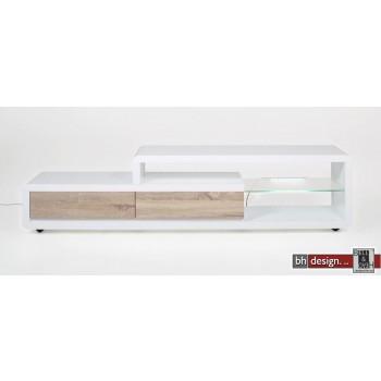 Ero TV-Tisch hochglanz weiss mit Eiche 180 x 39 cm mit LED-Beleuchtung
