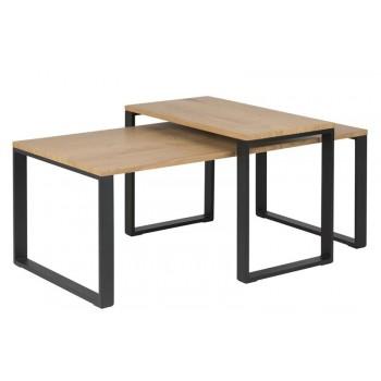 Tine 2-Satz-Couchtisch Wildeiche, schwarze Beine 115 x 54 cm
