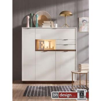 CS Schmal Highboard My Ell, 3 Türen,2 Schubkästen, 1 Klappe 138 x 143 cm, verschiedene Farben
