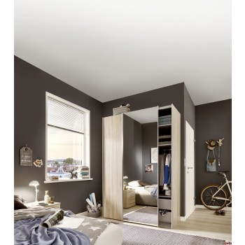Express Möbel Schwebetürenschrank Budget mit Spiegeltür, 125 cm bis 200 cm , Höhe 216