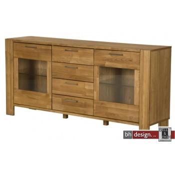 Riva Sideboard, 2 Türen, 4 Schubladen, Eiche massiv und  Echtholz Furnier Eiche natur geölt 171 x H 79 cm