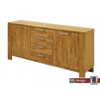 Sideboard Riva , 2 Türen, 4 Schubladen, Eiche massiv und  Echtholz Furnier Eiche natur geölt 171 x H 79 cm