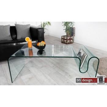 Thilde Couchtisch gebogenes Glas mit Zeitungsfach B 115 x T 60 x H 40 cm