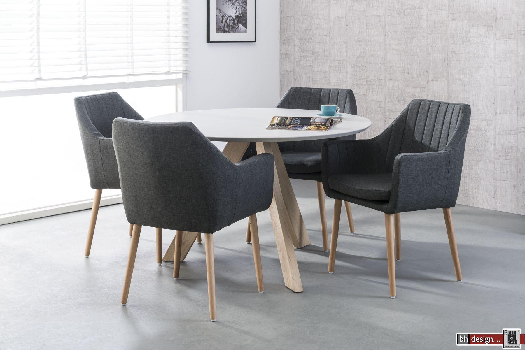 belinda esstisch weiss 120 cm rund mit naturbeinen powered. Black Bedroom Furniture Sets. Home Design Ideas