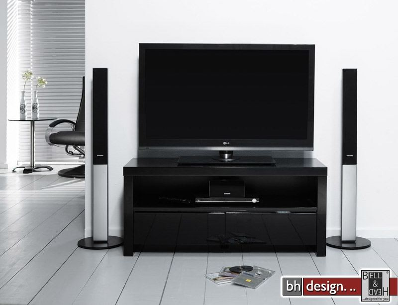 silas tv tisch hochglanz schwarz extrem gloss mit zwei. Black Bedroom Furniture Sets. Home Design Ideas