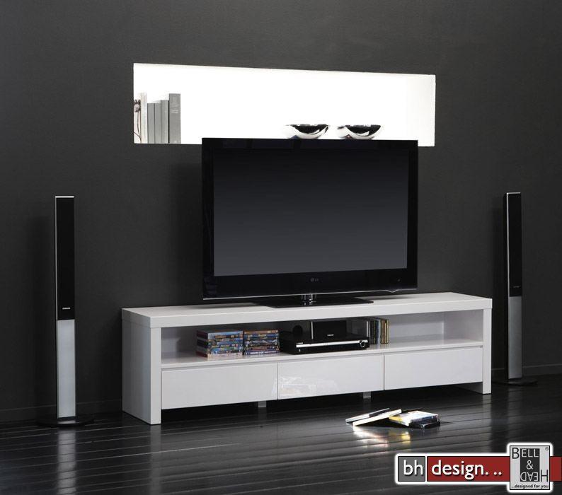 silas tv tisch hochglanz schwarz extrem gloss mit drei schubladen ...