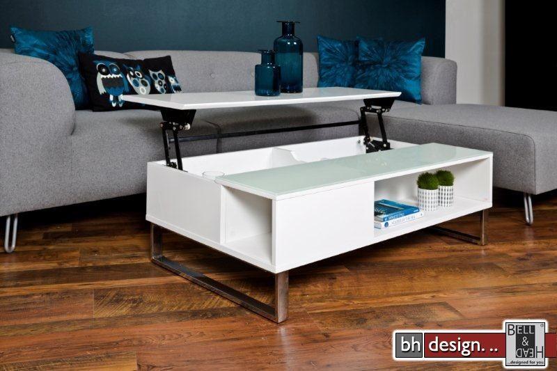 Azea couchtisch hochglanz weiss mit aufbewahrung und funktion 110 cm x 60 cm powered by bell - Table basse ajustable en hauteur ...