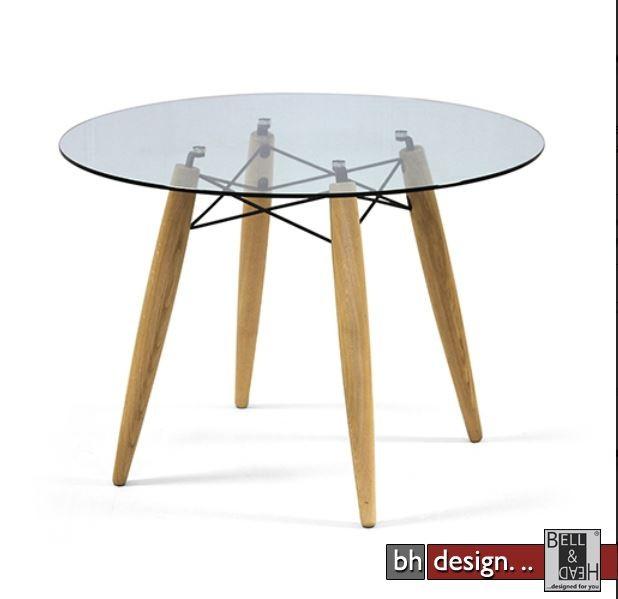 Esstisch glas rund  Souvenir Esstisch Glas und Holzbeine 100 cm, alternativ 110 cm rund ...