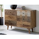 Kommode Koyoto by Canett Design, Multicolor used Look und  Mangoholz 117 x 86 x 45 cm