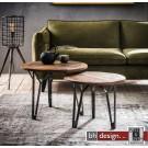 Factory 2-Satz Tisch massiv verwittertes Sheesham Holz, grained Gestell ab 50 x 50 cm rund