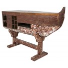 Boat Theke, Bar  by Canett Design in Multicolor recycelt Teakholz 193 x 58 x 124 cm